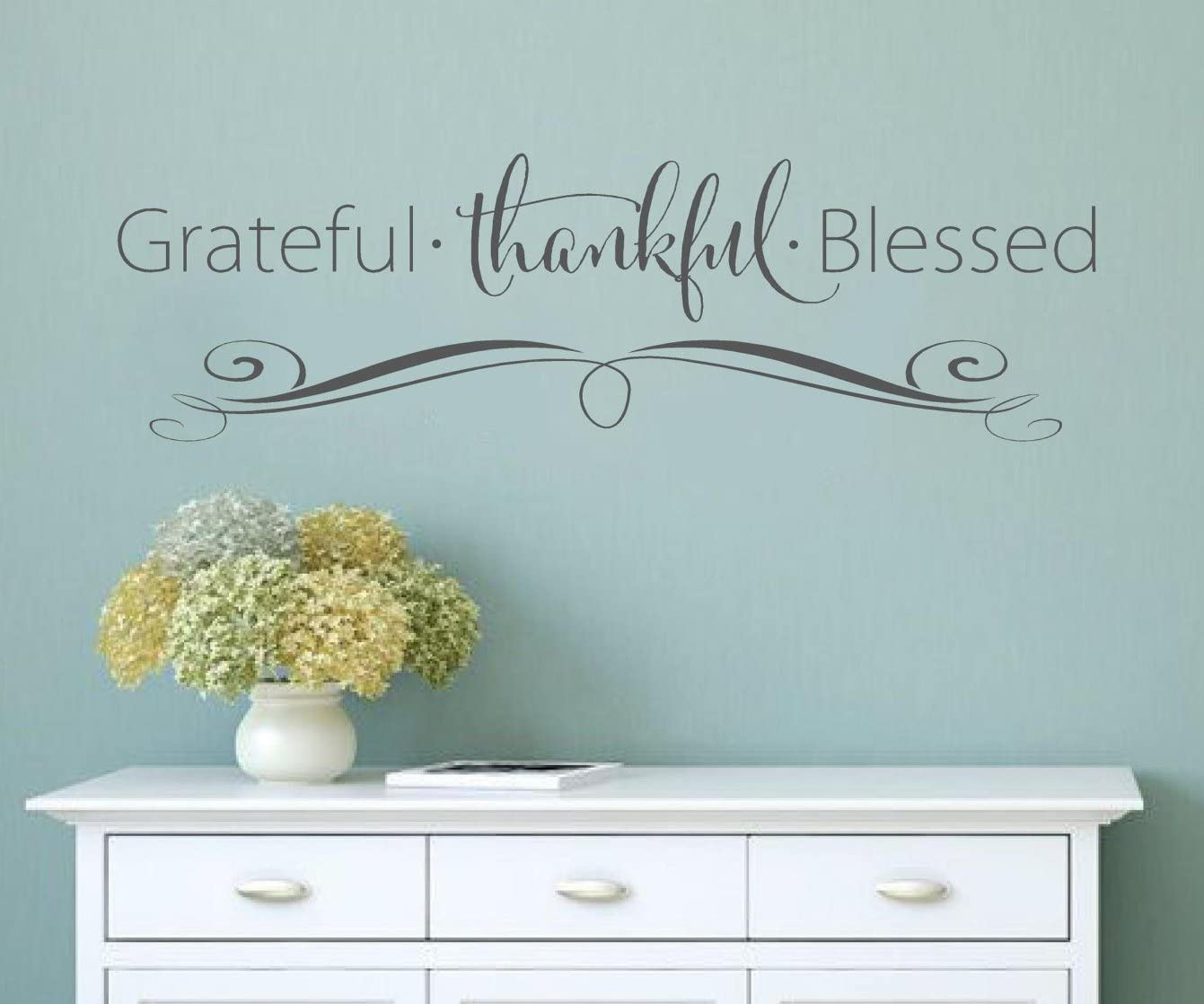 """Grateful Thankful Blessed Faith Vinyl Lettering Wall Decal Words Decal Family Custom Graphics Decals Bedroom Home Decor 12"""" x 41"""""""