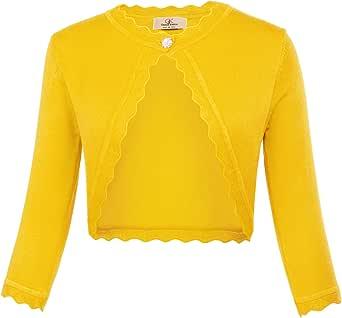GRACE KARIN Women 3/4 Sleeves Cardigan Shrug Knit Bolero