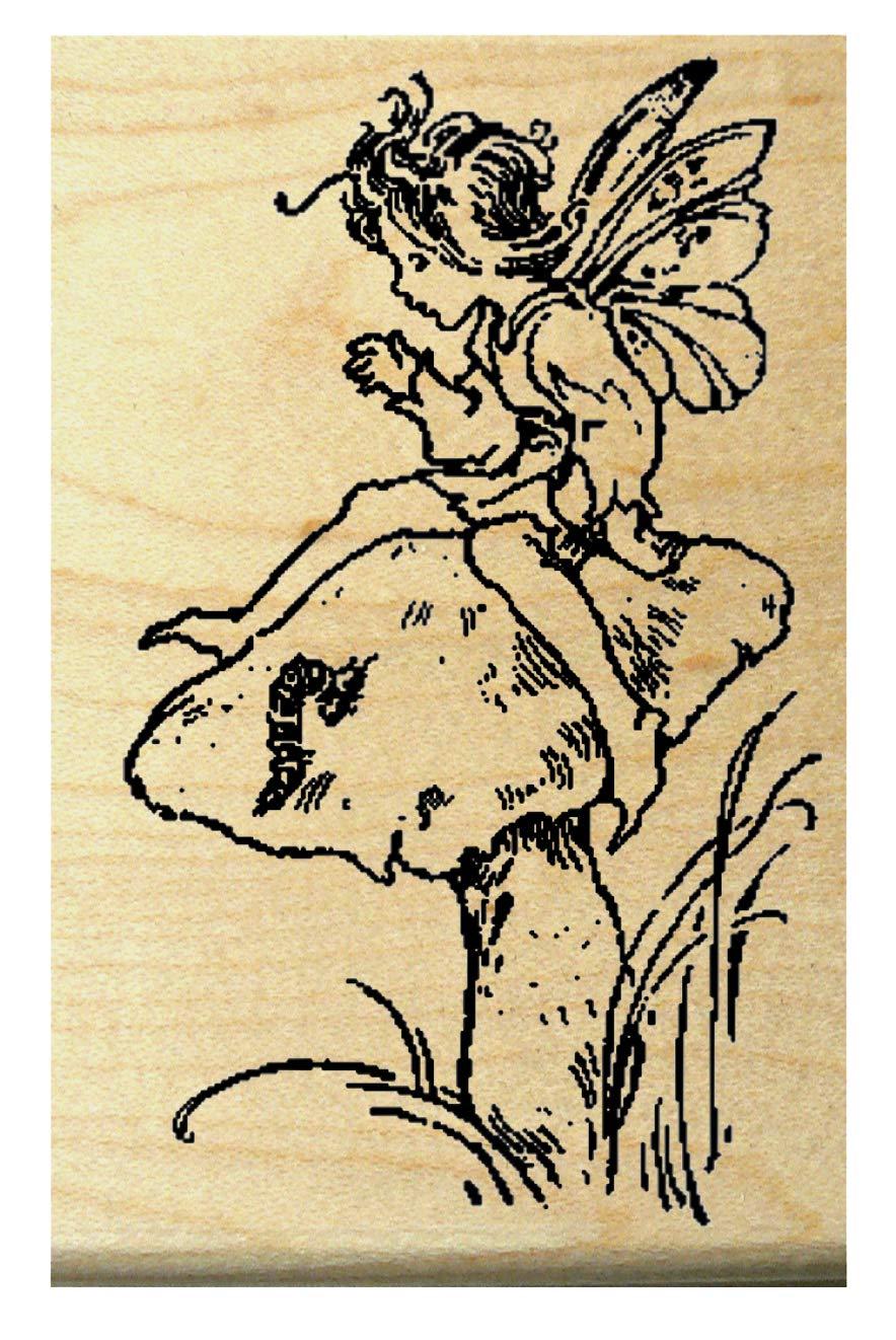 Fairy on mushroom rubber stamp WM   B003VRR1RO