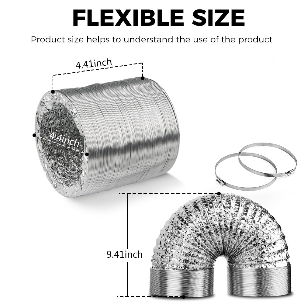 4in Aluminum Foil Duct Hose Grow Tent Room Ventilation Cooling System 8ft Flex Air Intake Helix Pipe Exhaust Inline Fan Filter CFM Flexible Clothes Dryer Vent with 2 Tension Hose Clamps HVAC Heat Duct