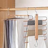 Magic Pants Hangers, Space Saving Closet Hangers 5 Layers 2 Uses Multi Functional Pants Rack | Solid Metal & Wood Heavy…