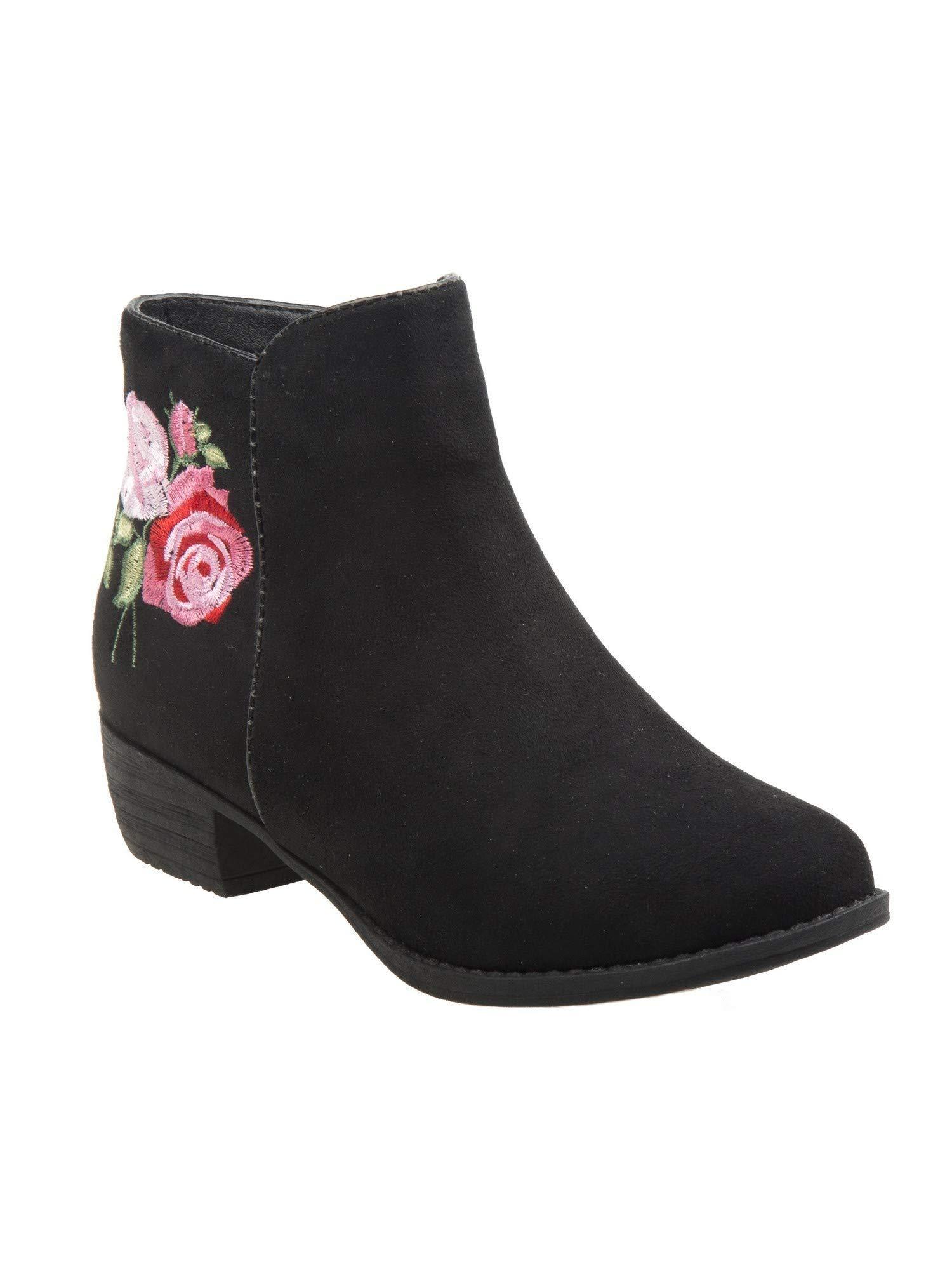 Nanette Lepore Girls Black Pink Flower Applique Ankle Booties 2 Kids