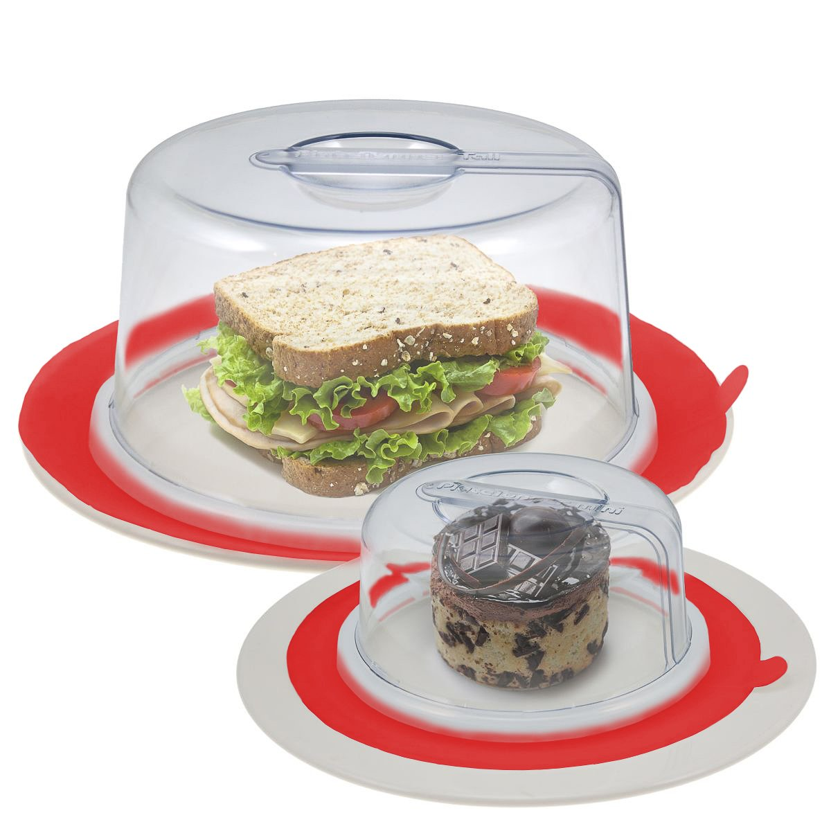2 PlateTopper (Mini & Tall) Universal Leftover Lid Microwave Cover Airtight #Red Plate Topper