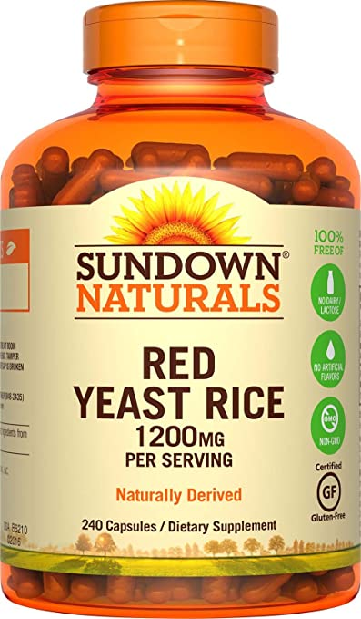 Sundown Naturals Red Yeast Rice 1200 mg Capsules (240 Count), Naturally Derived, Gluten Free, Dairy Free, Non-GMO, No Artificial Flavors