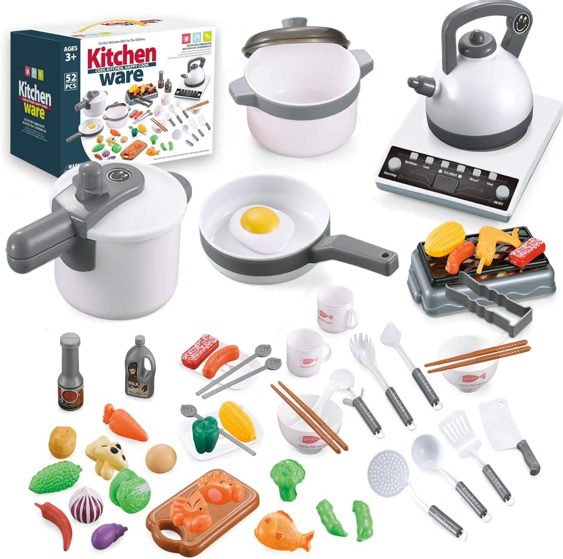 QUQUMA 52PCS Kitchen Play Toys, Pretend Play Cookware Set with Pots and Pans, BBQ Toy, Cutting Vegetables, Play Food and Cooking Utensil for Kids 3+ Year Old