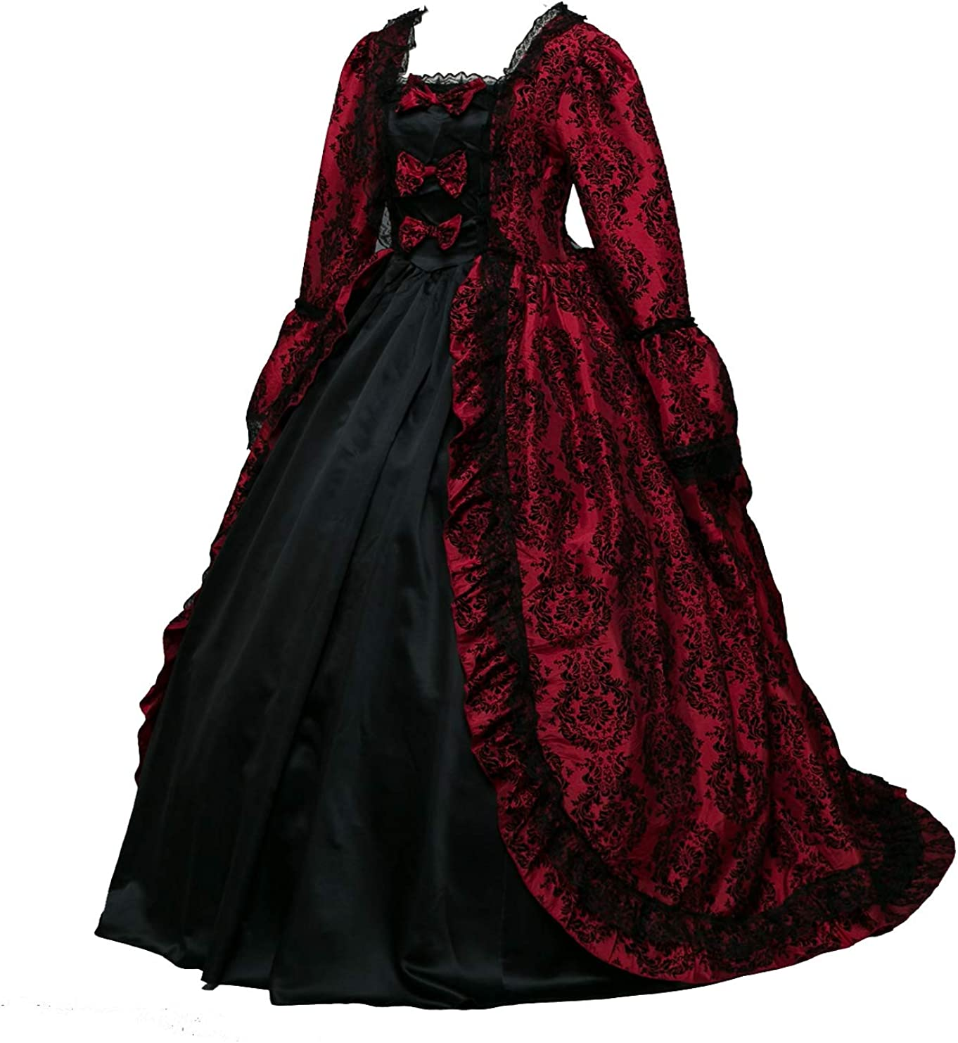 Amazon Com Suky Women S Elegant Recoco Victorian Dress Costume Ball Gowns Rococo Ball Gown Gothic Victorian Dress Costume Burgundy Clothing