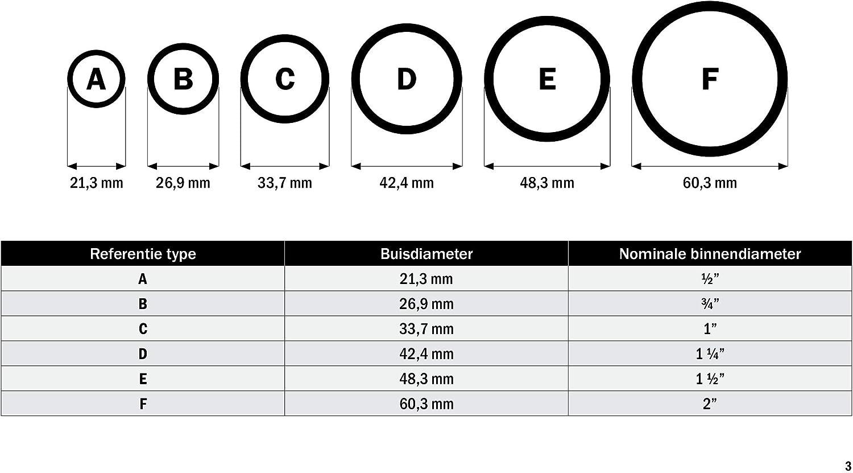 /Ø 26,9 mm Temperguss thermisch vollbadverzinkt inkl Rohrverbinder Dreiweg Eckst/ück 90/° Stellschrauben