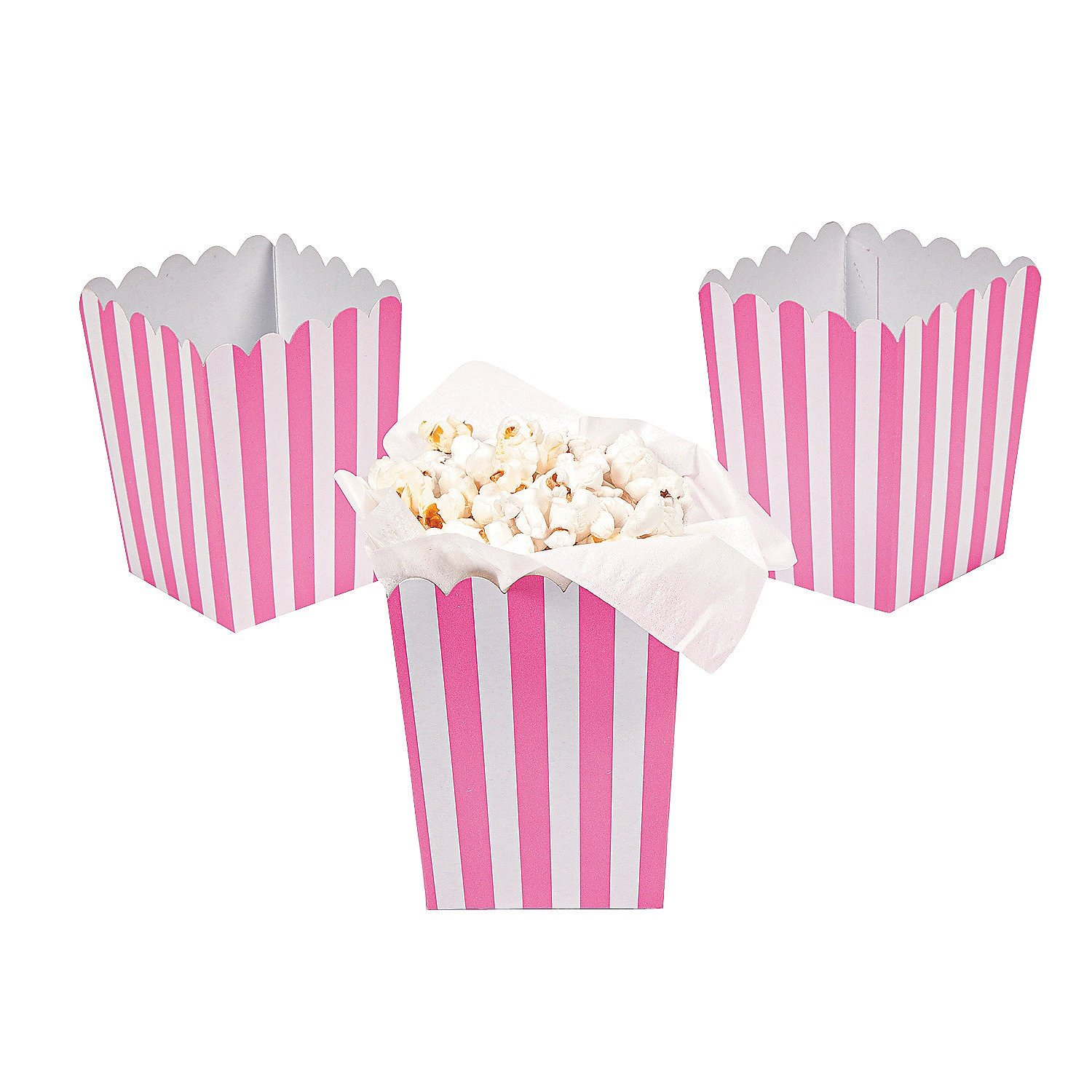 Paper Mini Candy Pink Striped Popcorn Boxes