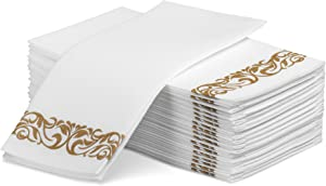 Laura Stein Linen-Feel Disposable Guest Towels (White with Gold Design, 100 Count)   Quality, Elegant, Soft, Absorbent Hand Napkins for Wedding Receptions, Restaurants, Bathrooms, Kitchens or Events