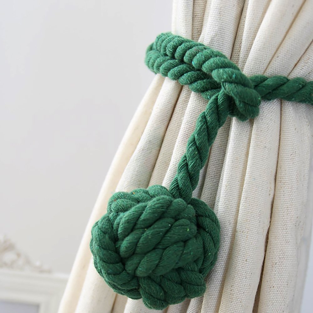 Vankra One Pair of Handmade Curtain Tie Backs, Tassel Tie Back Cotton Rope Ball Curtain Accessories (Brown)