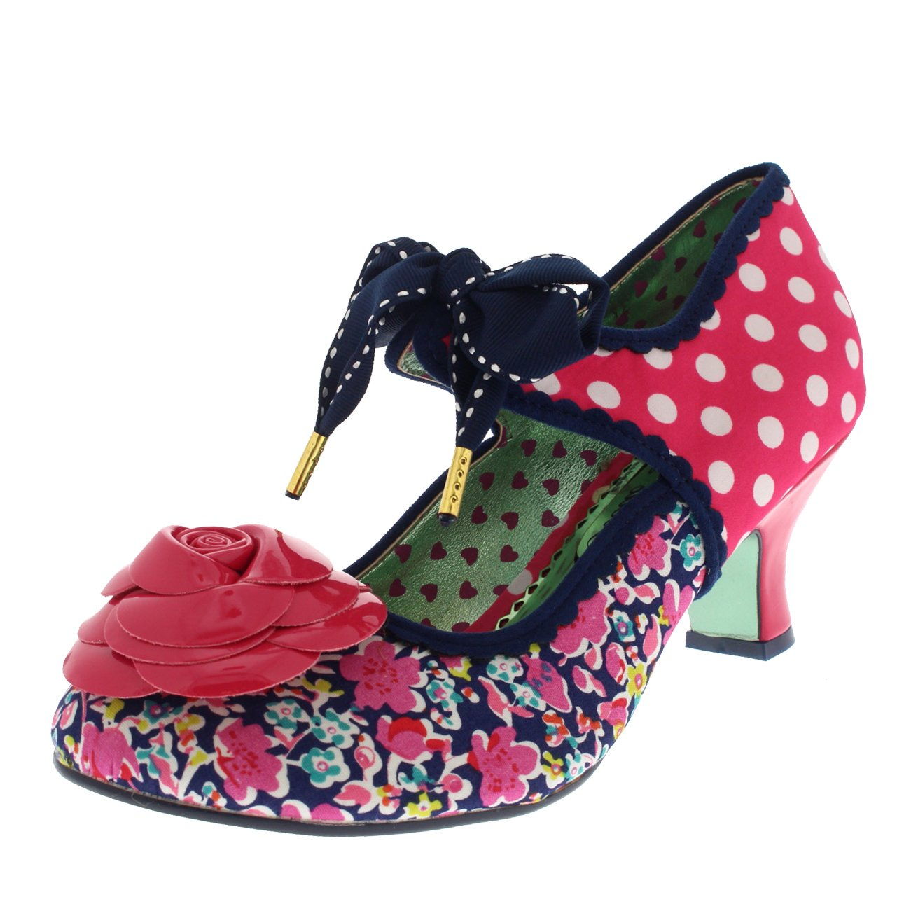 Womens Poetic Licence Summer Sands Polka Dot Court Shoes Kitten Heel - Pink - 8