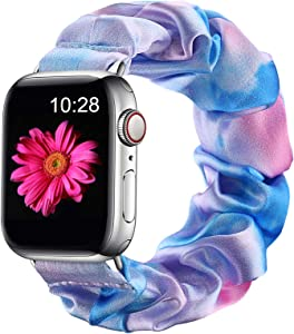 Easuny Compatible with Apple Watch 5 Band 40mm Women Series 6/5/4/SE, Soft Floral Elastic iWatch Scrunchie Bands 38mm for Apple Watch Series 3/2/1, Tie-Dye Blue Pink S