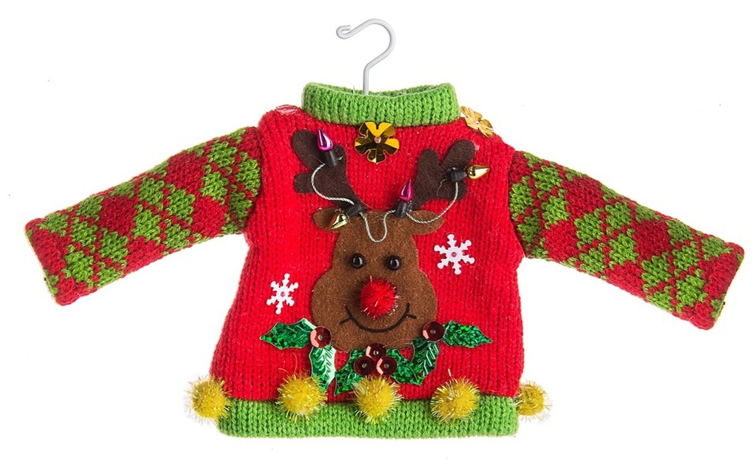 Midwest-CBK Reindeer Ugly Tacky Sweater Christmas Ornament