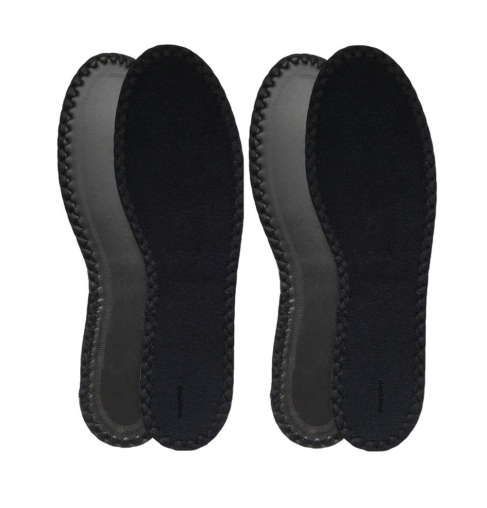 HappyStep 2 Pairs Terry Insoles The Best Barefoot Insoles, Ideal for Walking, Jogging and Running in All Seasons, Washable and Reusable, Black (Women Size 5)