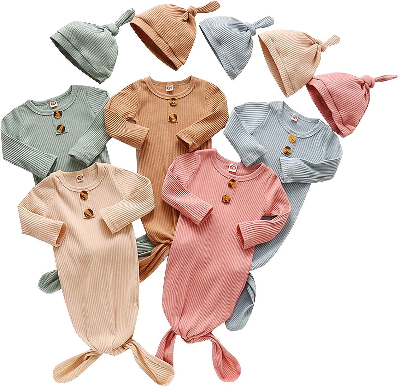 Baby Knotted Sleep Gown with Mitten Cuffs Unisex Soft Cotton Newborn Sleeper Bag