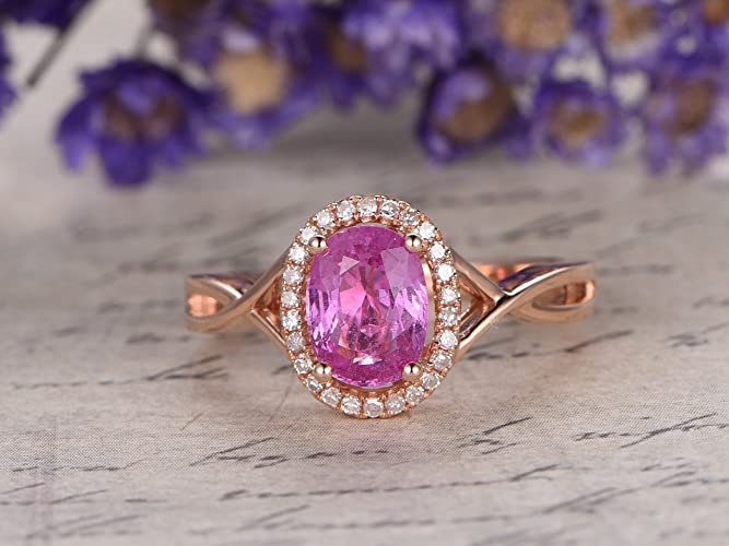 f9330dbe3 6x8mm Oval Cut Natural Pink Sapphire Engagement Ring Diamond Halo Solid 14k  Rose Gold Split Shank Cross Wedding Band Birthstone Bridal Set Anniversary  Gift ...