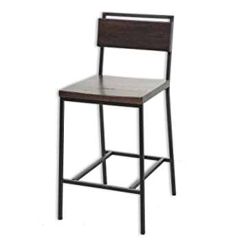 Amazon Olympia Metal Bar Stool with Black Cherry Wooden Seat