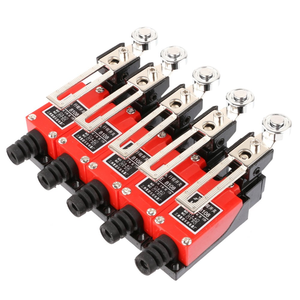 LYWS ME-8108 Momentary Adjustable Roller Lever Limit Switch Silver Contact Red Pack of 5