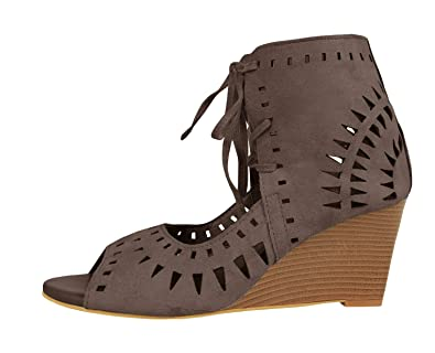 268cd3d6b57 Syktkmx Womens Cutout Lace Up Wedges Peep Toe Heeled Ankle Wrap Suede  Bootie Sandals Brown