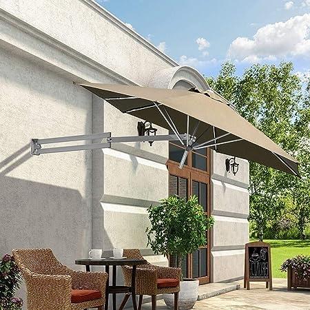 LJA Outdoor Parasol de Pared Parasol Balcón Vacaciones Jardín al Aire Libre Cantilever Sombrilla sombrilla inclinable con Poste de Metal (Color : Khaki): Amazon.es: Hogar