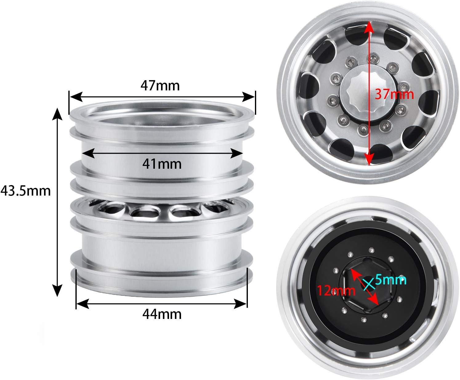 AXspeed 4pcs Metal Rear Wheel Rims Wheel Hubs for 1:14 Tamiya Trailer Tractor Truck RC Car