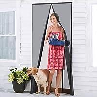 ONYADD - Cortina de Malla magnética Resistente con Marco Completo de Velcro, Compatible con Puertas de hasta 39-83 Pulgadas, Color Negro