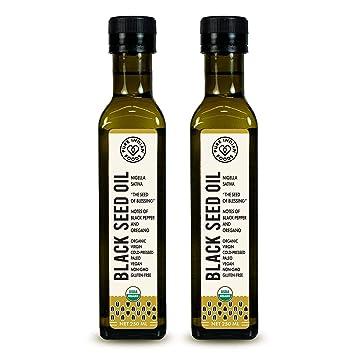 Certified Organic Black Seed Oil 250 ml, Cold-pressed Dark Glass Bottle,  2-Pack