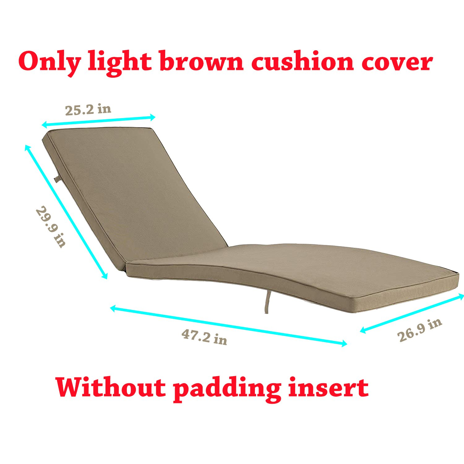 Do4U Adjustable Patio Outdoor Furniture Rattan Wicker Chaise Lounge Chair Sofa Couch Bed with Cushion (1 Pcs Light Brown Cushion Cover)