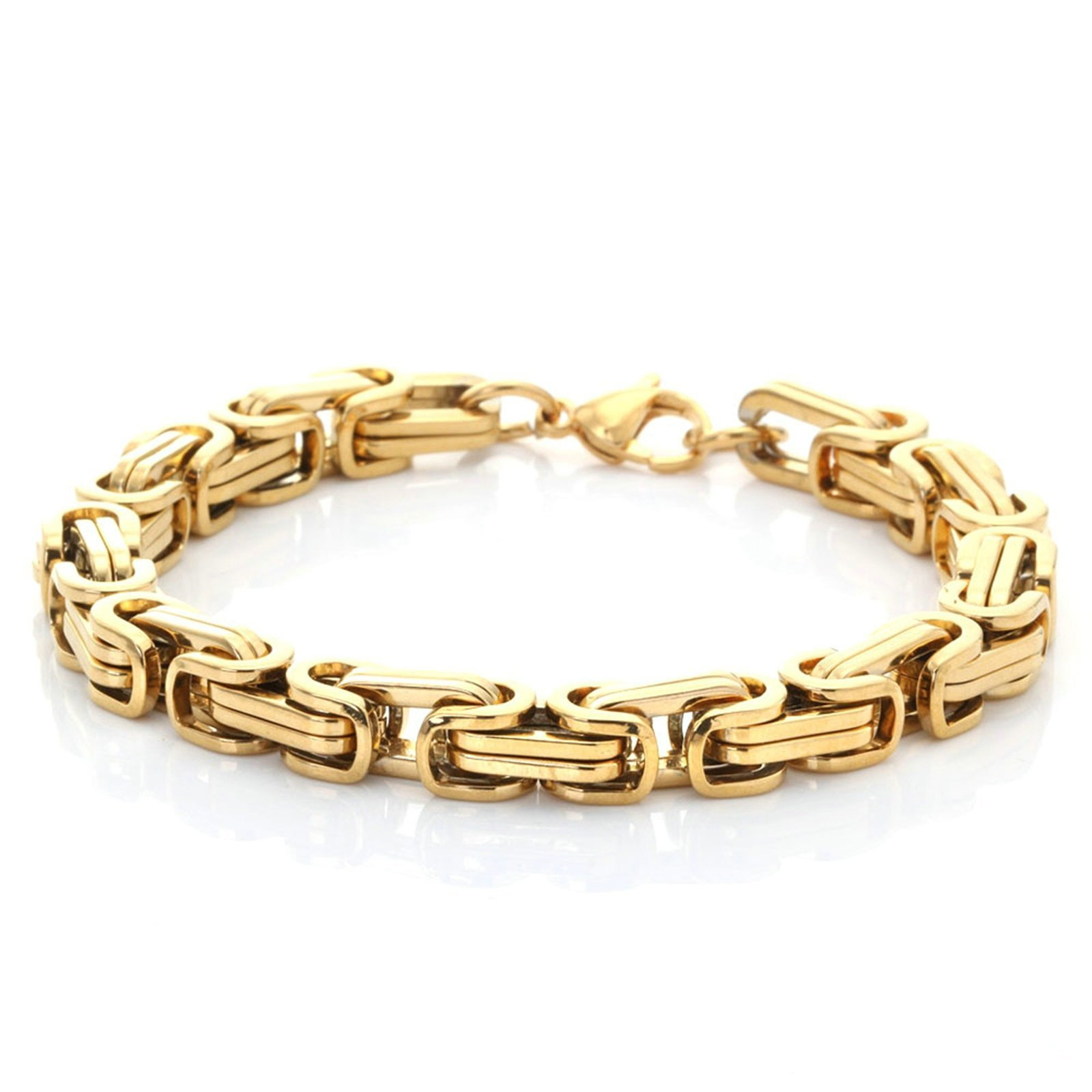 Aooaz Jewelry Titanium Steel Bracelet for Men Byzantine Chain 19CM Cuff Bracelet Gold 8MM Bracelet