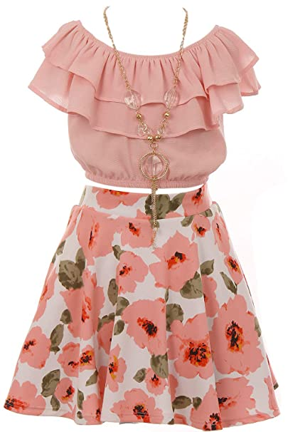 b10c3e85cae Cold Shoulder Crop Top Ruffle Layered Top Flower Girl Skirt Sets for Girl   Amazon.ca  Clothing   Accessories