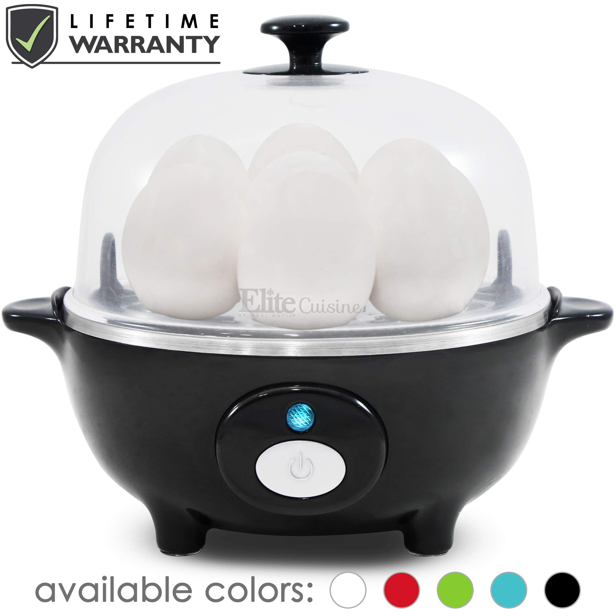 Maxi-Matic EGC-007B Easy Electric Egg Poacher, Omelet & Soft, Medium, Hard-Boiled Measuring Cup Included, 7 Capacity, Black by Maxi-Matic