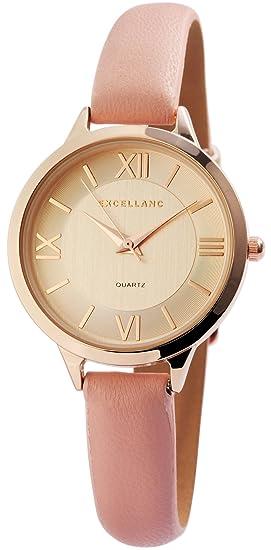 Reloj mujer oro rosa Números Romanos analógico de cuarzo piel Reloj de pulsera