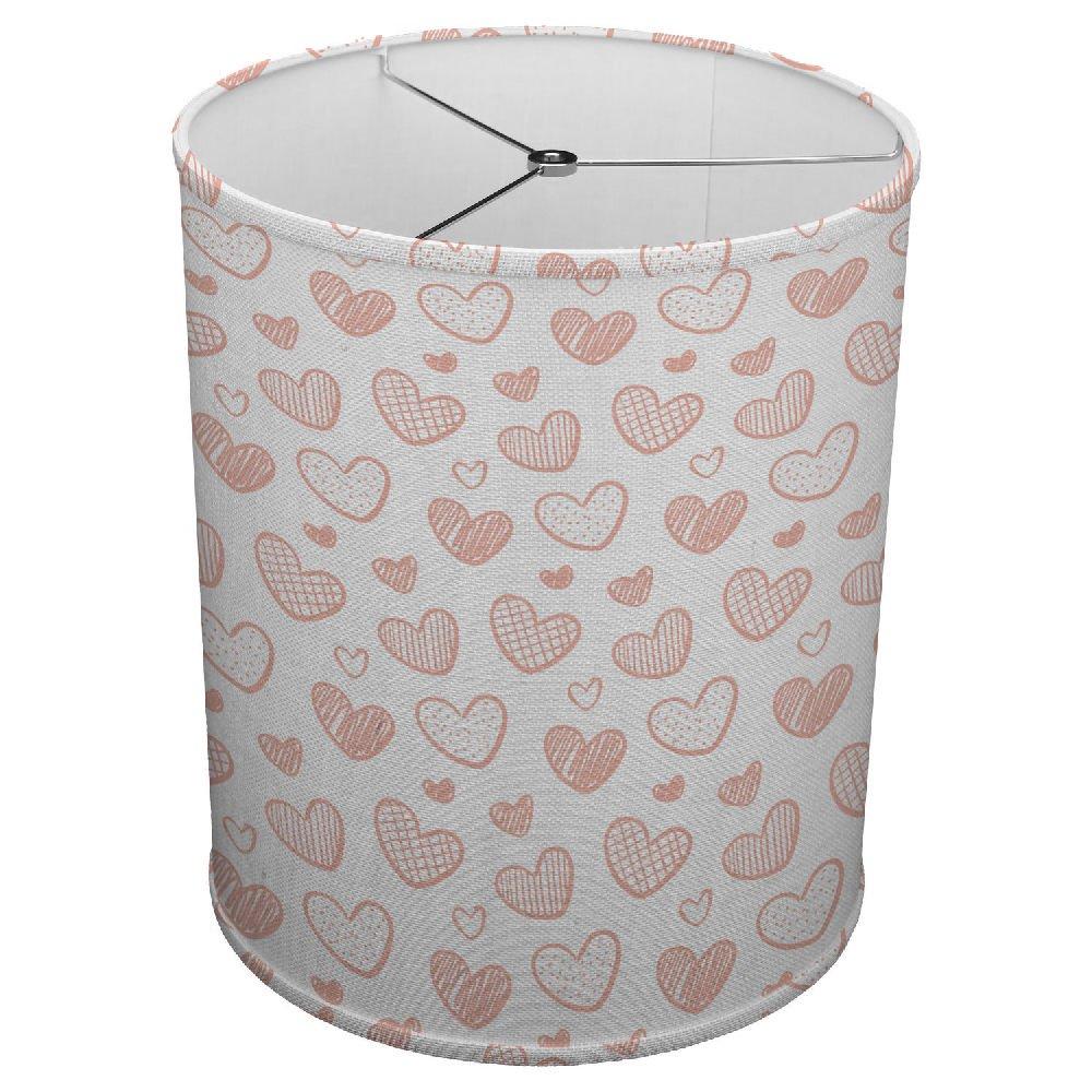 Hardback Linen Drum Cylinder Lamp Shade 8'' x 8'' x 8'' Spider Construction [ Pink Baby Hearts Love ]