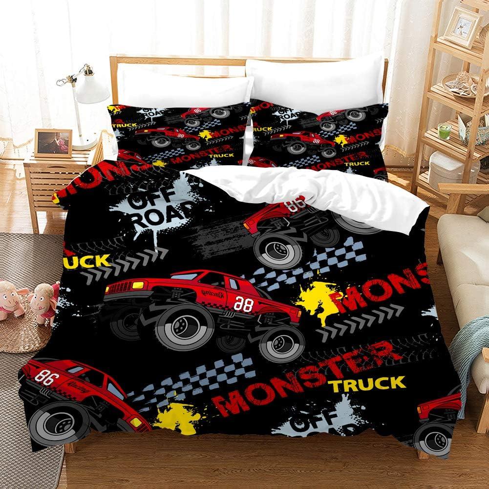 GDGM Monster Truck Juego de ropa de cama 3D, ropa de cama para niños, gran coche de carreras Off, funda nórdica y funda de almohada de ...