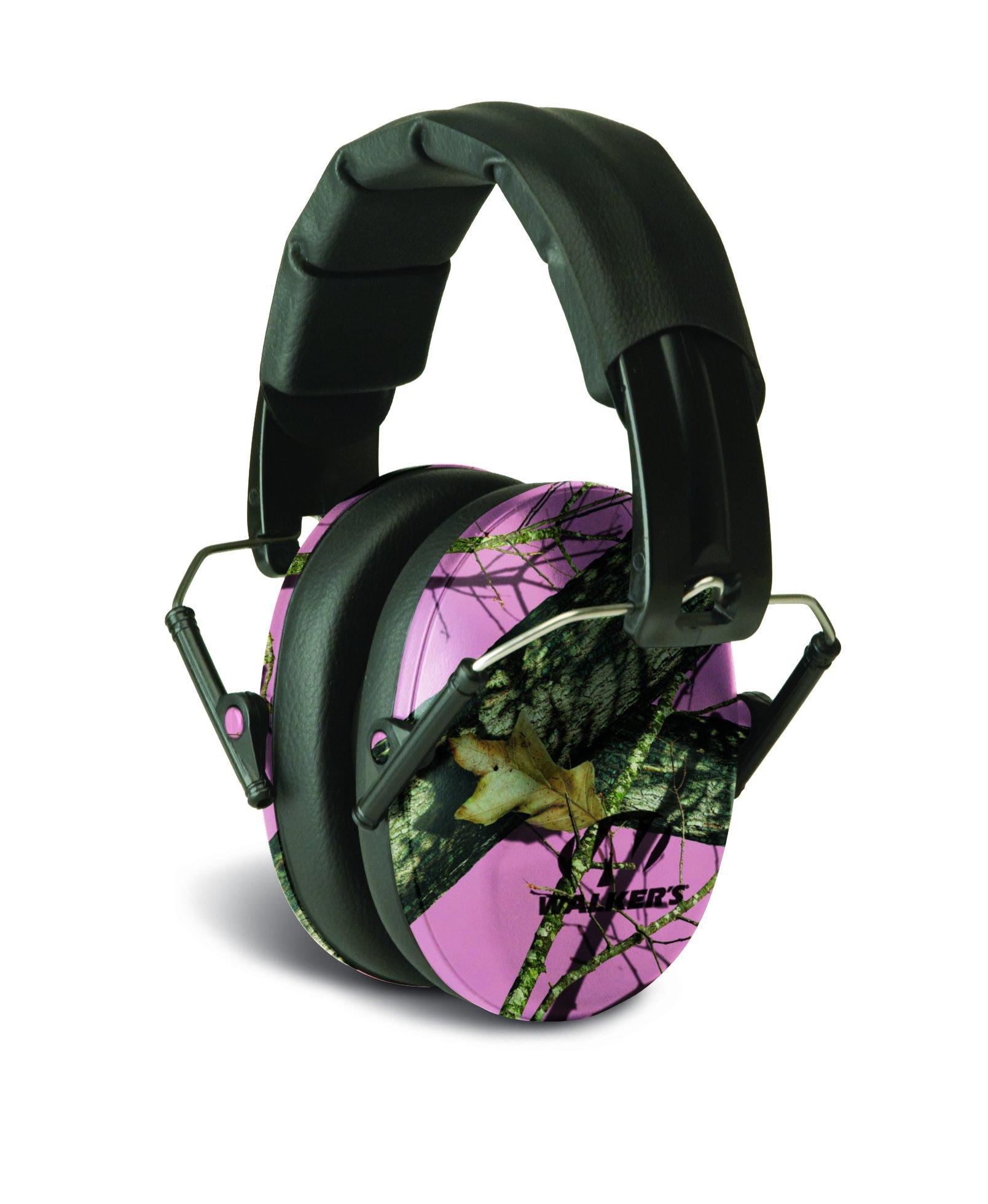 Walker's Low Profile Folding Muff (Pink Mossy Oak Camouflage) by Walker's Game Ear