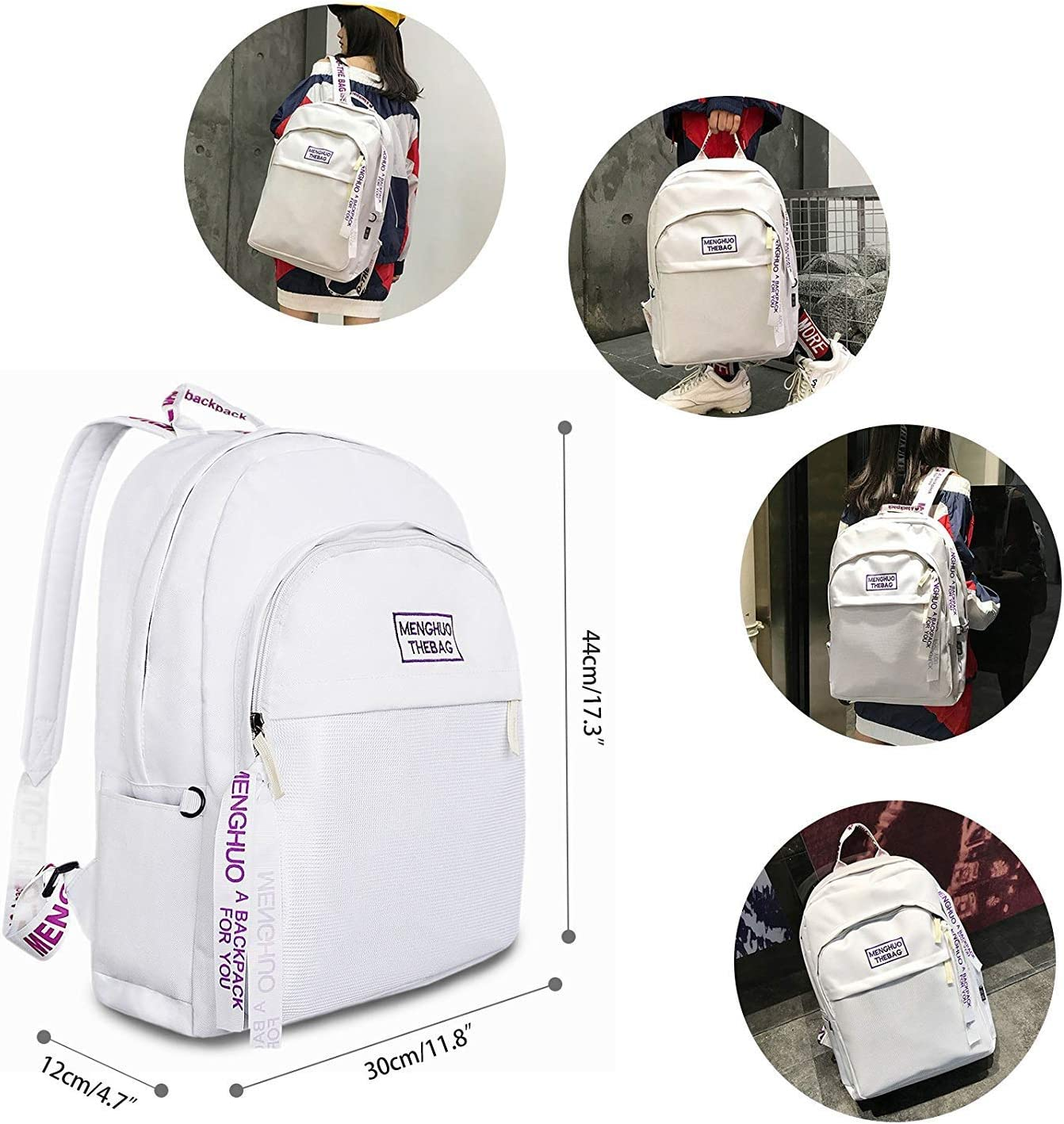 XFRJYKJ-Cartoon Backpack Fashion Trend Backpack Versatile School Bag Campus Student Backpack Color : White