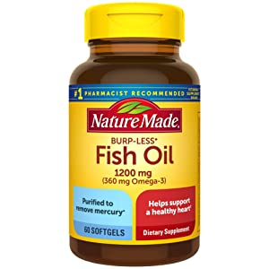 Nature Made Burp-Less Fish Oil 1200 mg Softgels, 60 Count for Heart Health