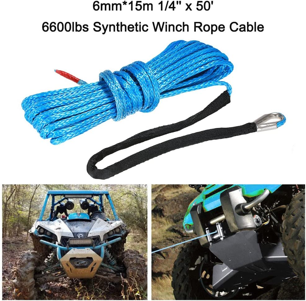 KKmoon 6mm*15m 1//4 x 50 5500lbs Synthetic Winch Rope Cable,Blue