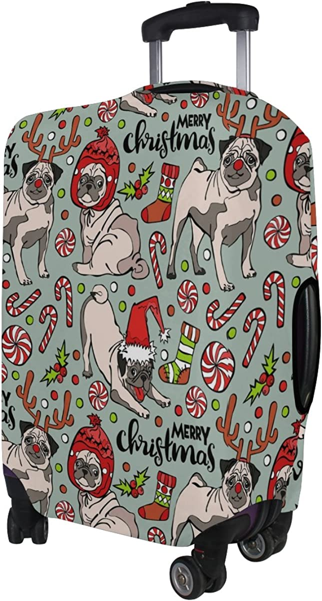 ALAZA Merry Christmas Pug Dog Candy Travel Luggage Cover Suitcase Cover Case