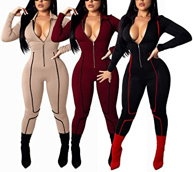 8e798c401d58 Amazon.com  YIQ8 Women s Sexy Deep V Neck Zipper Front Jumpsuits Casual  Slim Fit Rompers Stretchy Pants  Clothing