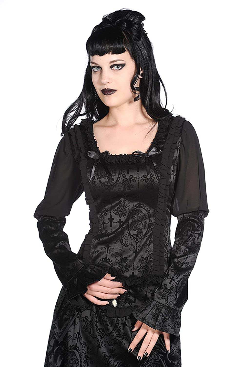 Banned Black Satin Corset Shirt $49.95 AT vintagedancer.com
