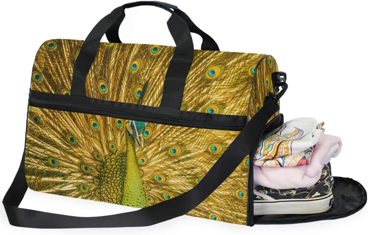 Golden Peacock Sports Gym Bag with Shoes Compartment Travel Duffel Bag for Men and Women