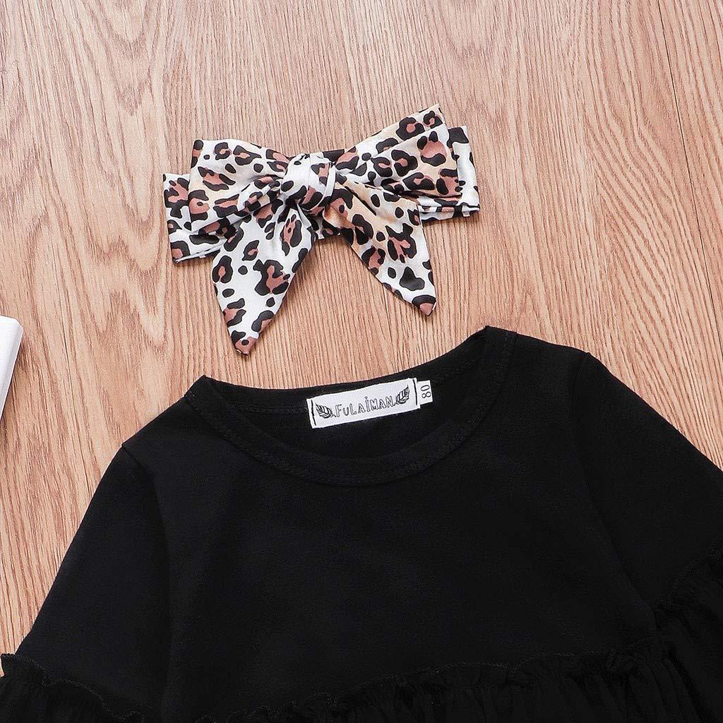 Heetey M/ädchen Tops Outfits /& Mantel Kleinkind-Baby Langarm-Sweatshirt Hose mit Leopardenmuster Haarband-Outfit Bowknot Pullover Festlich Kleid Hochzeit Partykleid Festzug Babybekleidung