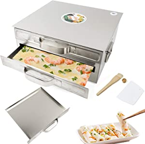 Gdrasuya10 Steamed Rice Noodle Vermicelli Roll Steamer Machine 2-Layer Chines Cantonese Cuisine Chung Fun Cookware Kitchen Food Container with Extra Drawer