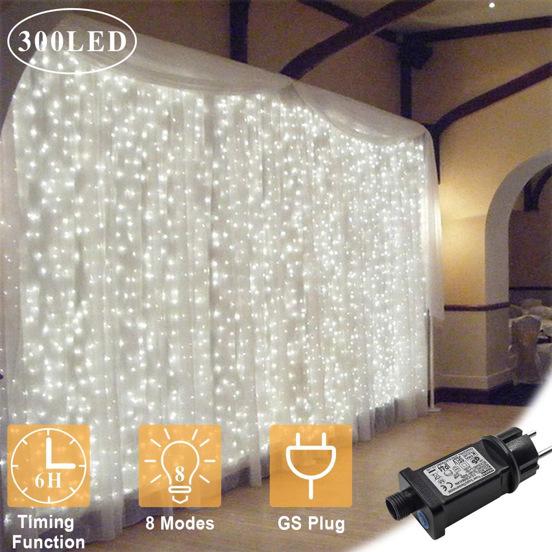 OMGAI Luces de Cortina LED, 300 Leds, 36V 6W, 3m x 3m Luz de ...