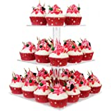 "YestBuy® 3 Tier Maypole Square Wedding Party Tree Tower Acrylic Cupcake Display Stand 3 Tier Square(4.7"" between 2 layers)"