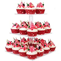 """YestBuy® 3 Tier Maypole Square Wedding Party Tree Tower Acrylic Cupcake Display Stand 3 Tier Square(4.7"""" between 2 layers)"""