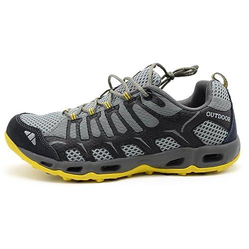 Arcweg Zapatillas de Trekking para Hombre Mujer Outdoor Walking Travel Zapatos Botas de Montaña Zapatillas de Senderismo Amarillo Gris Oscuro 42: Amazon.es: ...