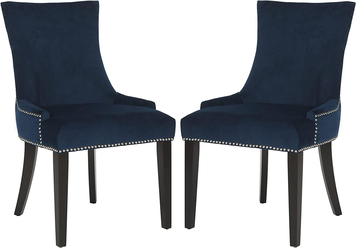 Safavieh Mercer Collection Lester Navy/Espresso Dining Chair (Set of 2), Grey/White