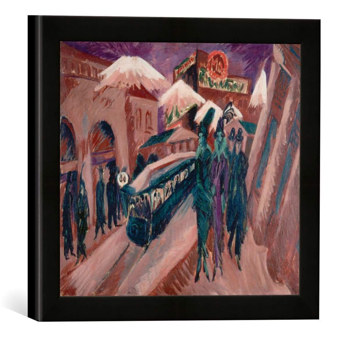 Gerahmtes Bild von Ernst Ludwig Kirchner Leipziger Strasse mit elektrischer Bahn, Kunstdruck im hochwertigen handgefertigten Bilder-Rahmen, 30x30 cm, Schwarz matt